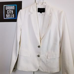 Banana Republic Blazer size 4 White with royal Crest buttons classic Womens coat